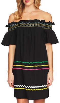 CeCe Smocked Off-The-Shoulder Shift Dress