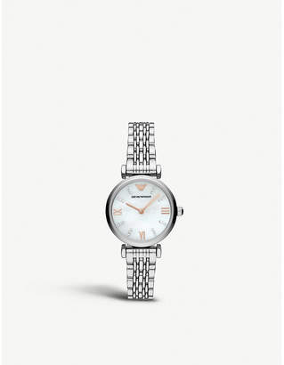 Emporio Armani AR11204 Gianni T-bar stainless steel and mother-of-pearl watch