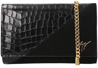 Giuseppe Zanotti Black Suede And Crocodile Embossed Calfskin Leather Clutch