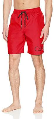 Calvin Klein Men's Solid Logo Volley Swim Trunk