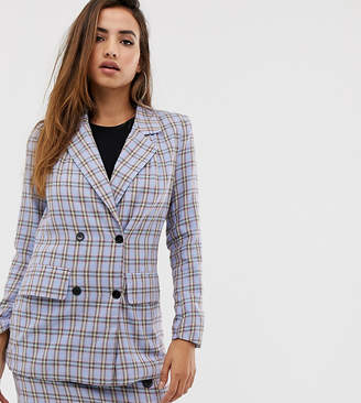 Missguided co-ord oversized blazer in blue check