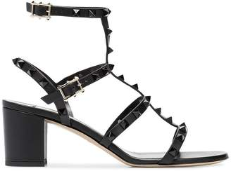 Valentino black rockstud 60 leather sandals