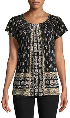 Style And Co. Pleated Mix Print Top