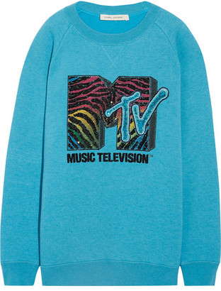 Marc Jacobs - Oversized Sequin-embellished Jersey Sweatshirt - Turquoise $1,400 thestylecure.com
