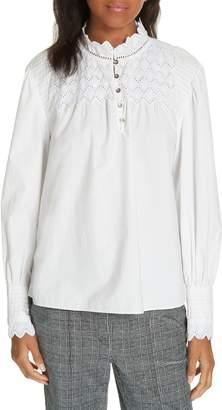 Rebecca Taylor Embroidered Poplin Shirt