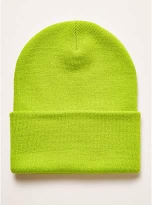 Topman Mens Green Neon Lime Skater Beanie a4cb81bc86e6