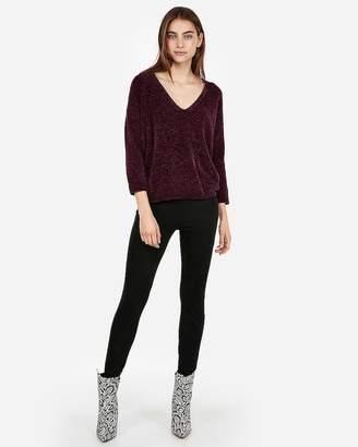 Express Petite Velvet Chenille V-Neck Sweater