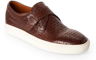 Doucal's Dark Brown Embossed Leather Slip-On Sneakers