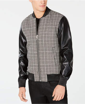 GUESS Men Mixed-Media Plaid Bomber Jacket
