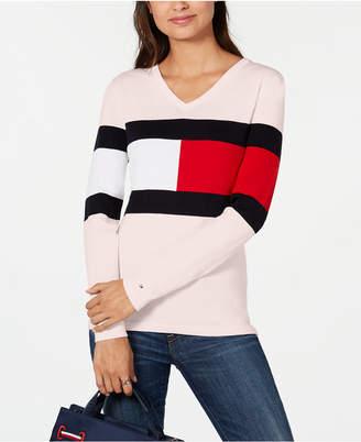 Tommy Hilfiger Colorblocked V-Neck Cotton Sweater