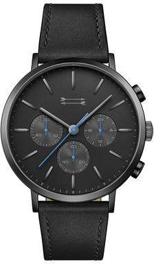 Uri Minkoff Griffith Black Tone Leather Watch, 43MM