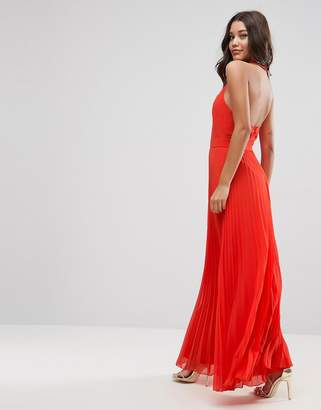 Asos DESIGN Halter Neck Pleated Maxi Dress with Open Back