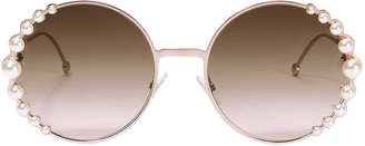 Fendi Pearl Trim Round Sunglasses