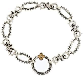 "Barbara Bixby Sterling & 18K Textured Link Bracelet 8"""
