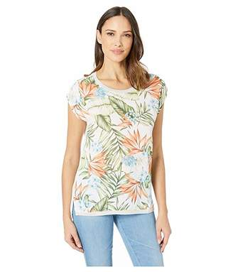 Tribal Printed Crepe Woven Front Short Sleeve Top