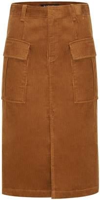 Mo&Co. Pocket Corduroy Midi Skirt