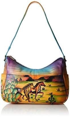 Anuschka Handpainted Leather Twin Top East West Hobo Arizona Mustang $179 thestylecure.com