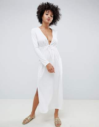 Asos Design DESIGN jersey crepe maxi dress with drawstring waist