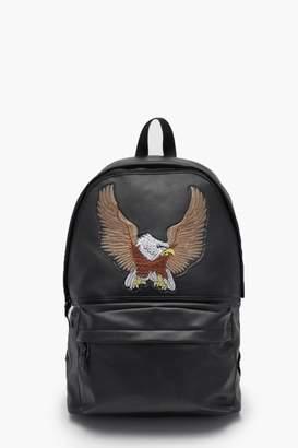 boohoo Eagle Applique Faux Leather Rucksack
