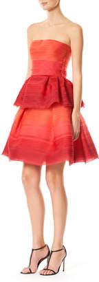 Carolina Herrera Strapless Pleated Ombre Chiffon Cocktail Dress, Red Pattern