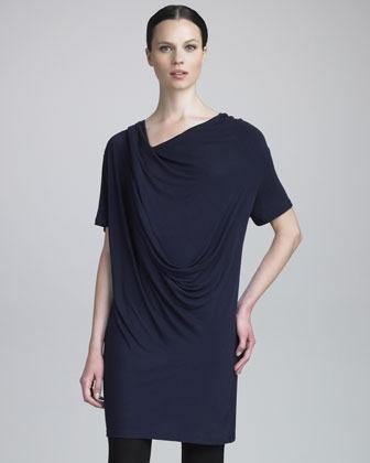 Donna Karan Draped Jersey Tunic