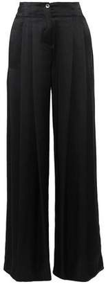 Raquel Allegra Pleated Silk-Charmeuse Wide-Leg Pants