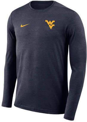 Nike Men West Virginia Mountaineers Long Sleeve Dri-Fit Coaches T-Shirt