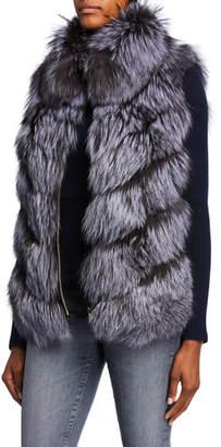 Gorski Down & Fox Fur Reversible Chevron Vest