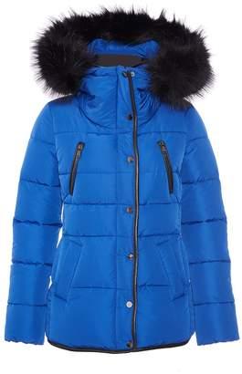 Quiz Royal Blue Padded Faux Fur Jacket