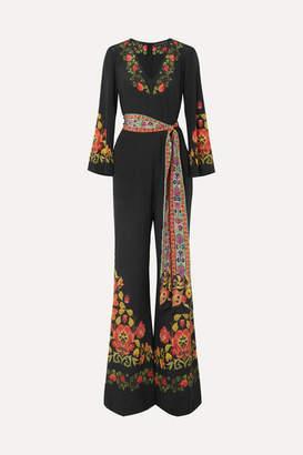 Etro Printed Silk Crepe De Chine Jumpsuit - Black