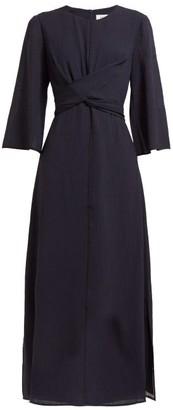 Cefinn - Wrap Bodice Voile Midi Dress - Womens - Navy Multi