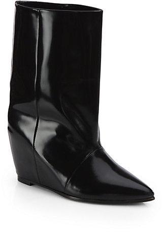 Junya Watanabe Polished Leather Mid-Calf Wedge Boots