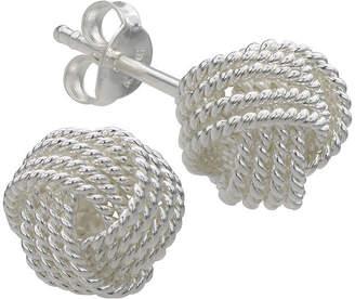 SILVER TREASURES Sterling Silver Rope Love Knot Stud Earrings