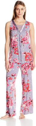 Midnight by Carole Hochman Women's Lace with Modal Long Pajama
