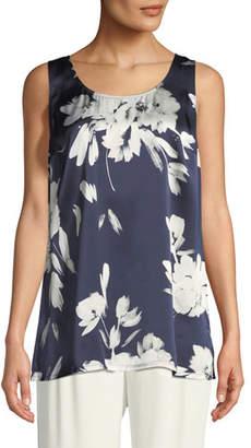 Go Silk Floral-Print Silk Georgette Tank, Plus Size