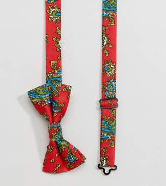 Reclaimed Vintage Inspired Bow Tie In Red Paisley