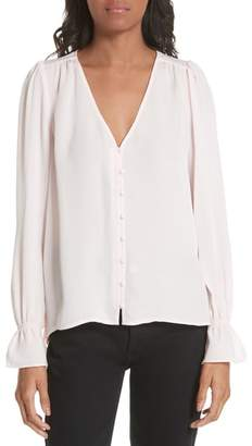 Joie Bolona Silk Gathered Sleeve Top