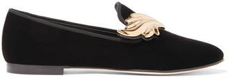 Giuseppe Zanotti - Embellished Velvet Loafers - Black $795 thestylecure.com