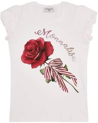 MonnaLisa Rose Logo Embellished T-Shirt