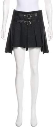 Dolce & Gabbana Leather-Accented Wool Skirt