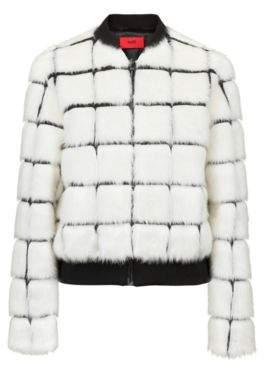 HUGO Boss Faux-fur bomber jacket contrast lines M Patterned