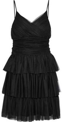 Maje Richard Tiered Tulle Mini Dress