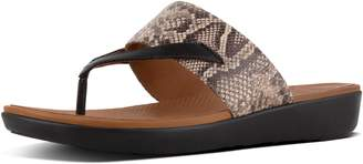 FitFlop Delta Snake-Print Leather Toe-Thongs