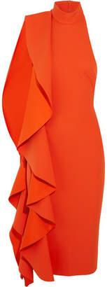 SOLACE London Ruffled Crepe Midi Dress - Tomato red
