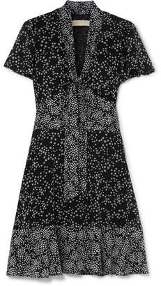 MICHAEL Michael Kors Pussy-bow Printed Chiffon Mini Dress - Black
