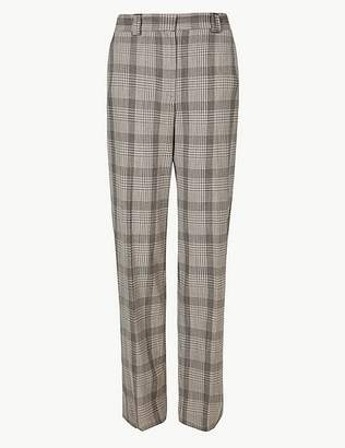 Marks and Spencer Checked Relaxed Straight Leg Trousers