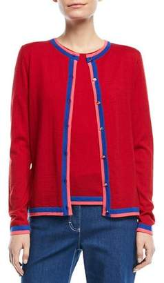 Escada Crewneck Button-Front Long-Sleeve Wool Cardigan