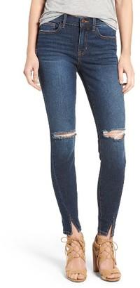 Women's Sp Black Slit Front Skinny Jeans $58 thestylecure.com