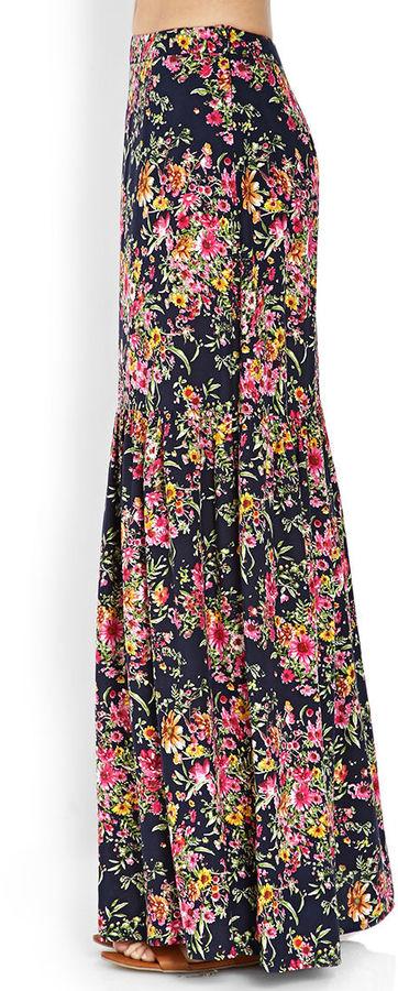 LOVE21 LOVE 21 Long Floral Skirt