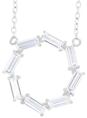 Lord & Taylor Cubic Zirconia and Sterling Silver Open Circle Bar Pendant Link Chain Necklace $65 thestylecure.com